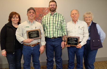 At the 2018 IFC Annual Meeting are pictured R to L: Rose Nuhring, 2018 Outstanding Producer Award winner Clay Nuhring, IFC President Jason Tower, 2018 Maurice E. Heath Award winner David Nuhring, and Shirley Nuhring.