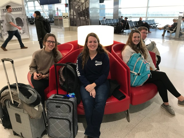 Waiting to board a flight to Greenville, SC for the AFGC are representatives of the Purdue University Forage Bowl Team. (Left to right): Rachel Imel, Kaleigh Krieger, Leanna Shearer, and Garrett Alka