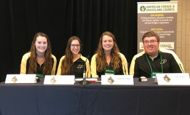 Ready to compete! (Left to right): Purdue University students Leanna Shearer, Auburn Indiana; Rachel Imel, Knightstown, Indiana, Kaleigh Krieger, Greensburg, Indiana, and Garret Alka, Rushville, Indiana